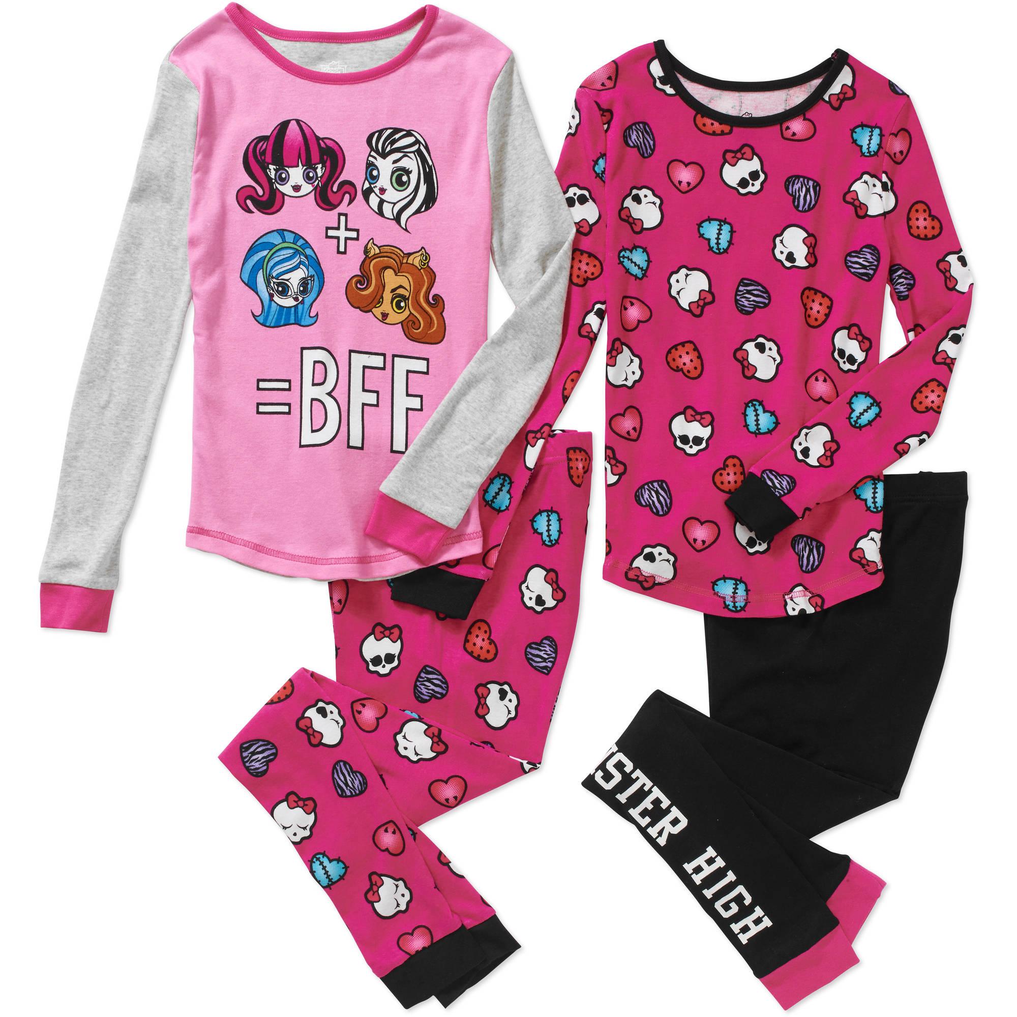 Girls' Monster High 4pc cotton sleepwear set