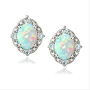 Sterling Silver Diamond Accent Created White Opal & Blue Topaz Oval Stud Earrings
