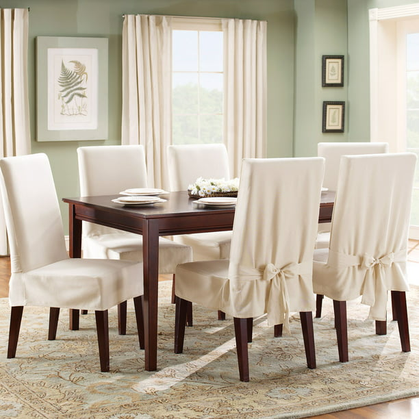 Sure Fit Cotton Duck Dining Room Chair, Dining Room Seat Covers With Ties