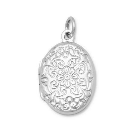 Sterling Silver Oval Polished Floral Design Locket 21x15mm Locket Holds 2 Pictures (Polished Sterling Silver Floral Design)