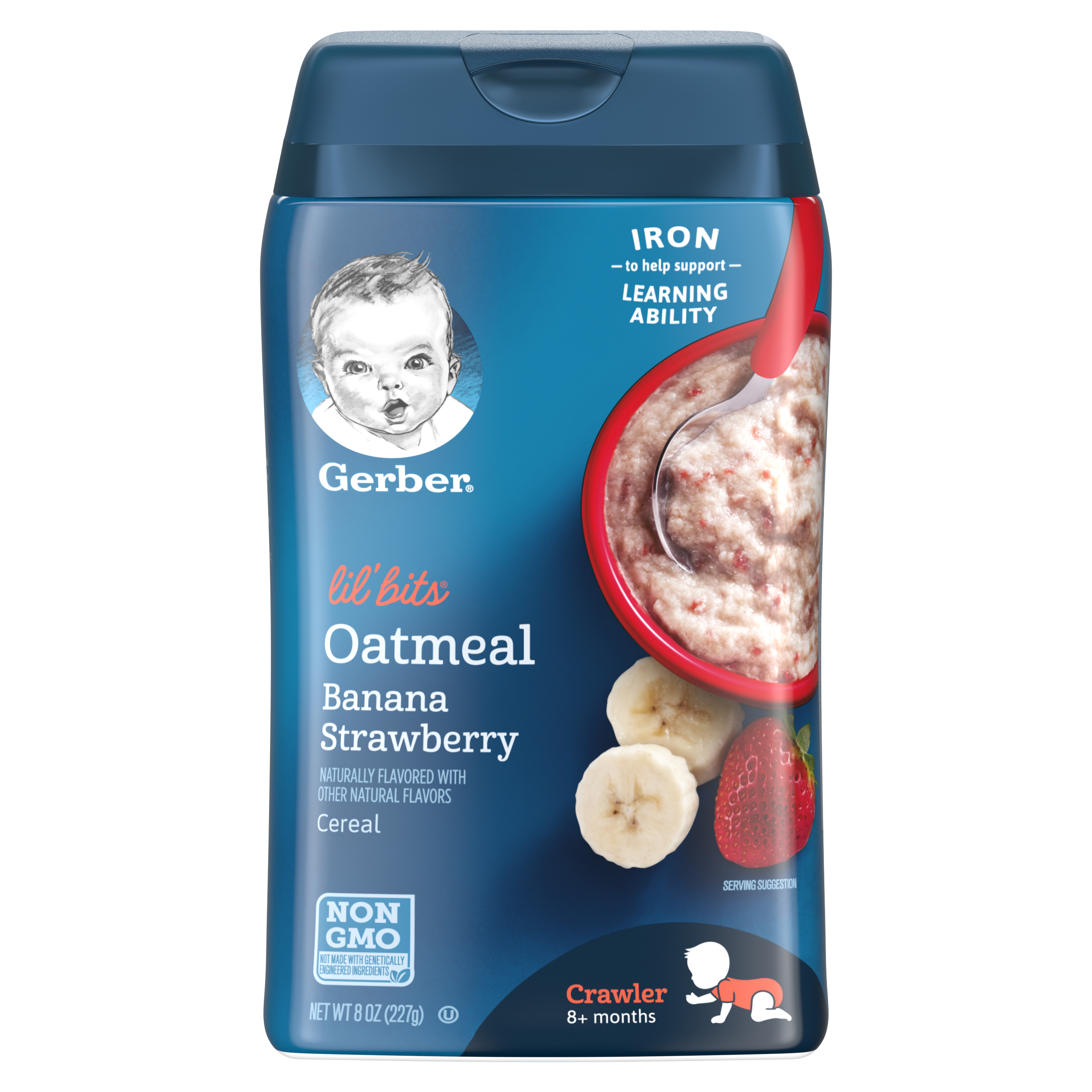 Gerber Lil' Bits Oatmeal Banana Strawberry Baby Cereal, 8 oz