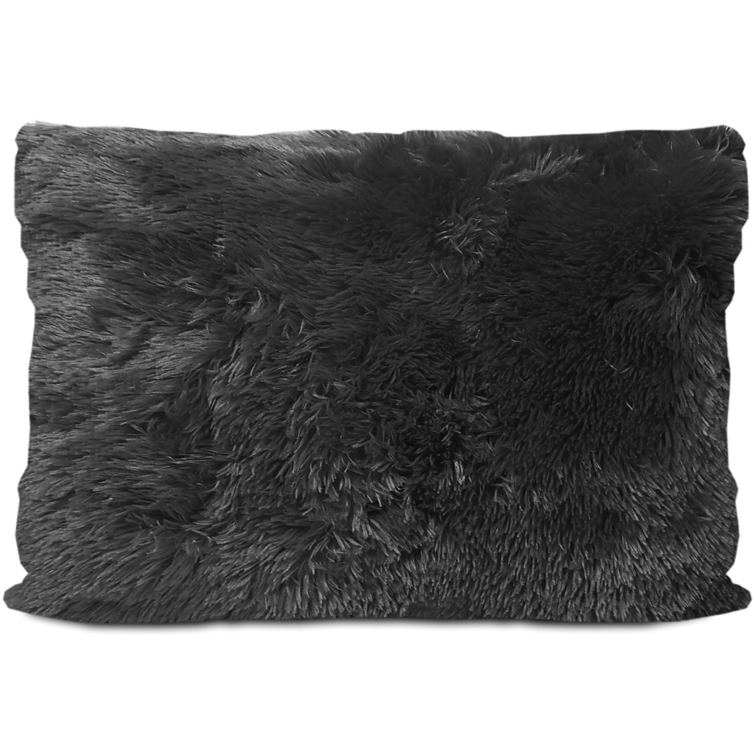 your zone long hair fur pillow, black