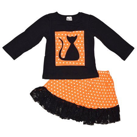 Unique Baby Girls Fall Fashion Halloween Long Sleeve Black Cat Skirt Set with Lace Trim (4t)