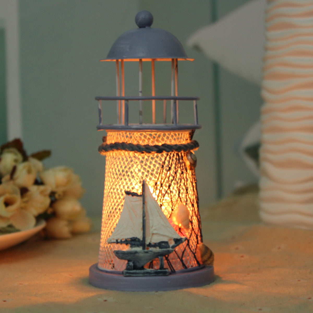 Mediterranean Iron Light House Candlestick Candle Holders Tealight Decor Gifts