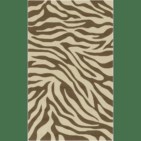 3 X 5 Exquisite Safari Sandy Brown And Taupe Zebra