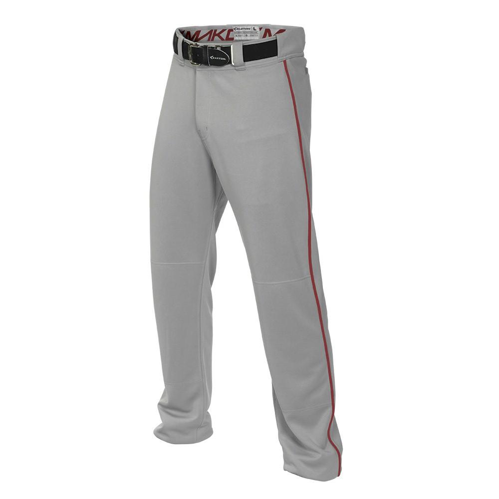 Easton MAKO2 Piped Boys Baseball Pant - Grey/Red - Size M...
