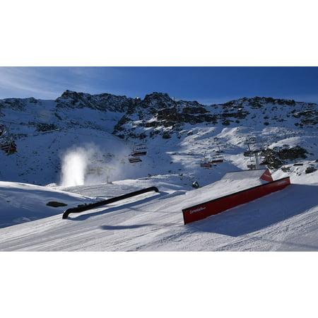 Canvas Print Mountain Snow Park Snow Mountain Resort Ski Resort Stretched Canvas 10 x