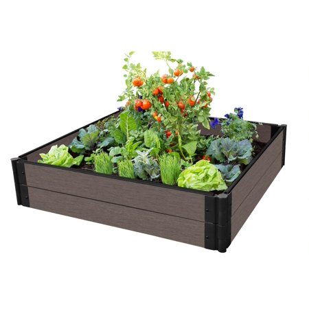 "- Frame It All Weathered Wood Raised Garden Bed 4' x 4' x 11"" – 1"" profile"