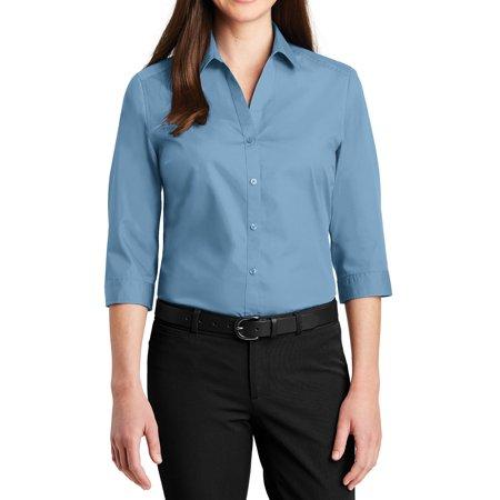 Poplin 3/4 Sleeve Shirt - Mafoose Women's 3/4 Sleeve Uniforms Carefree Poplin Shirt Carolina Blue X-Small