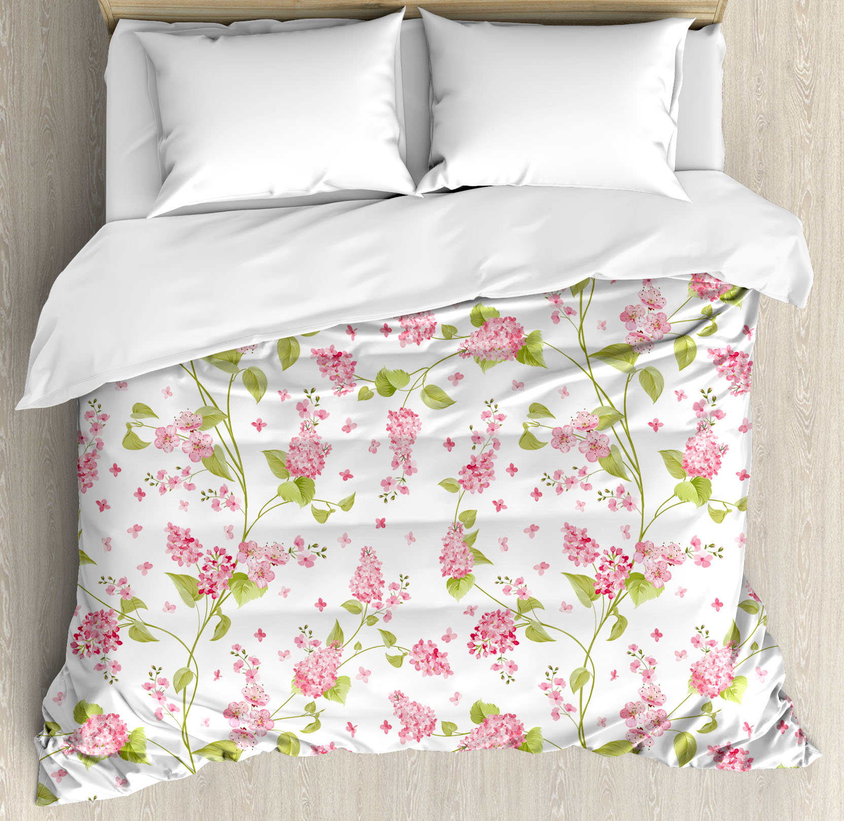 Shabby Chic Duvet Cover Set Nature Blossoms Buds Flowers Lavenders
