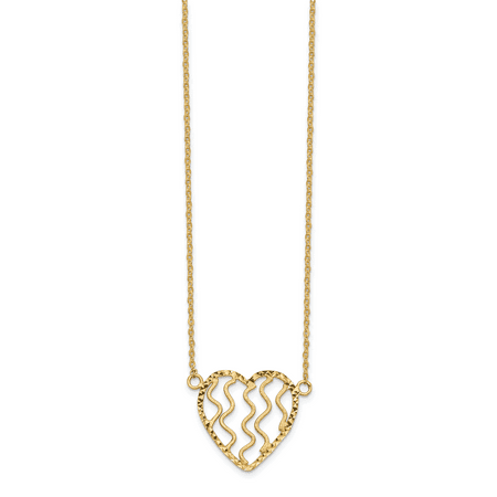 14k Yellow Gold Heart 18 Inch Chain Necklace Pendant Charm Love Fancy Gifts For Women For (Backed Fancy Heart Pendant)
