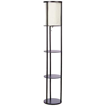 Stewart Real Wood Round Shelf Floor Lamp - Decorative Furniture Black by Adesso ()