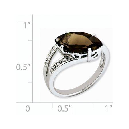 Sterling Silver Rhodium Smoky Quartz & Diamond Ring - image 1 de 2