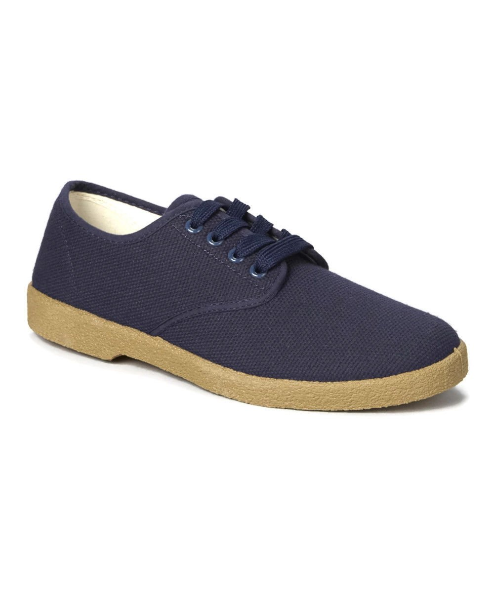Zig Zag Canvas Oxford Shoes Navy Winos