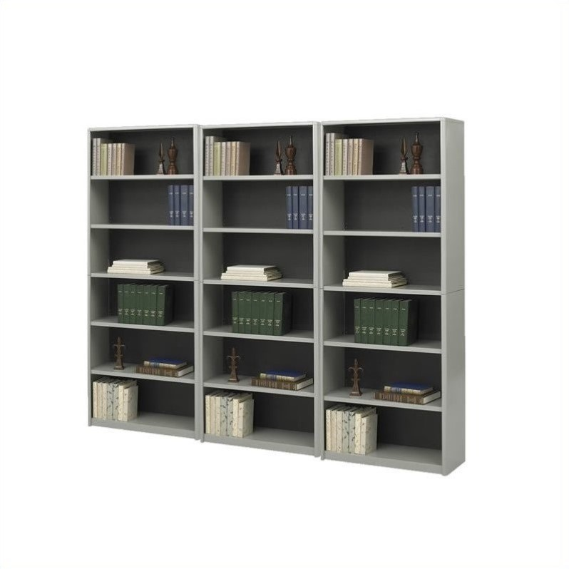 Safco ValueMate Standard 6 Shelf Economy Steel Wall Bookcase in Gray