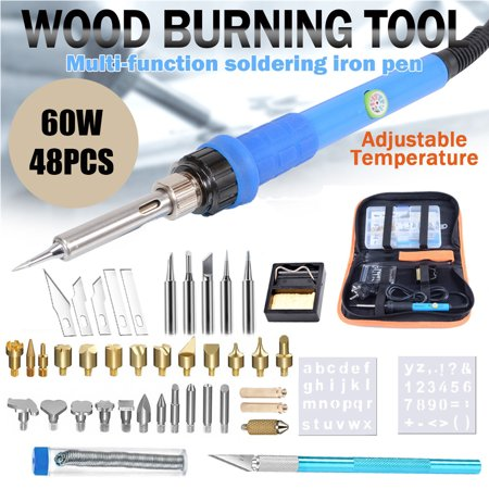 48Pcs 60W Electric Soldering Iron Kit Electronics Adjustable Temperature Soldering Iron, Wood Burning Pen Set Tips Stencil, Soldering Station, LED