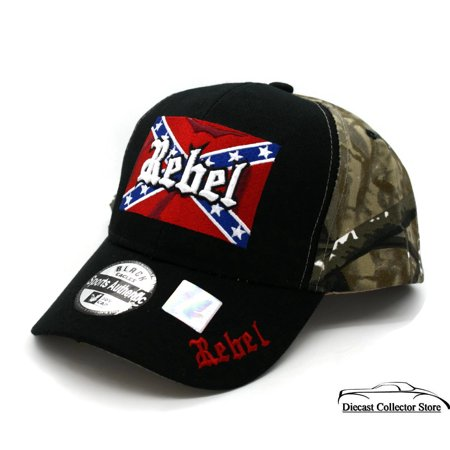 Hat - REBEL Camouflage 3-D Embroidered Ball Cap with Flag FREE SHIPPING ()