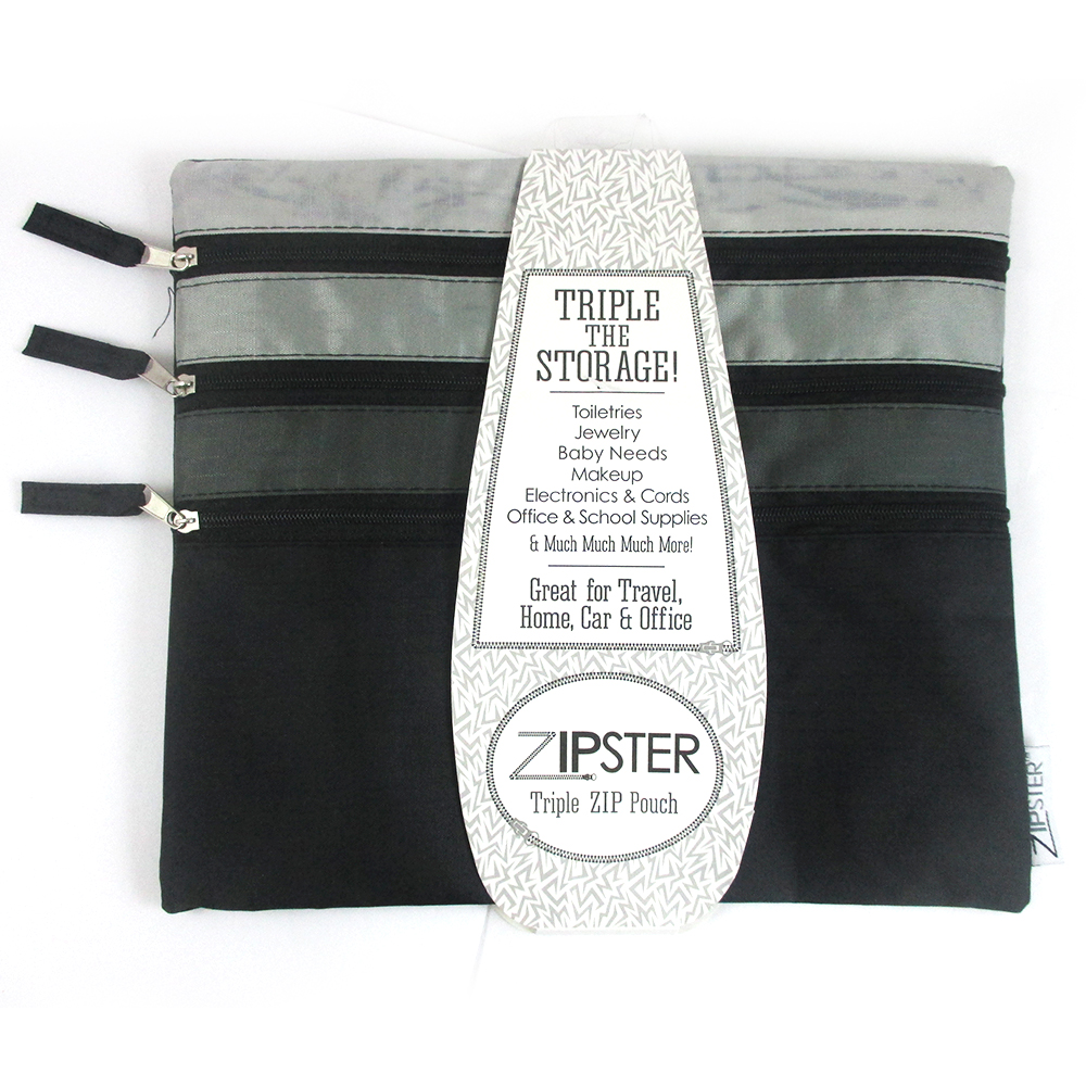 Triple Zippered Pouch Travel Cosmetic Bag Makeup Case Toiletry Coupon Organizer