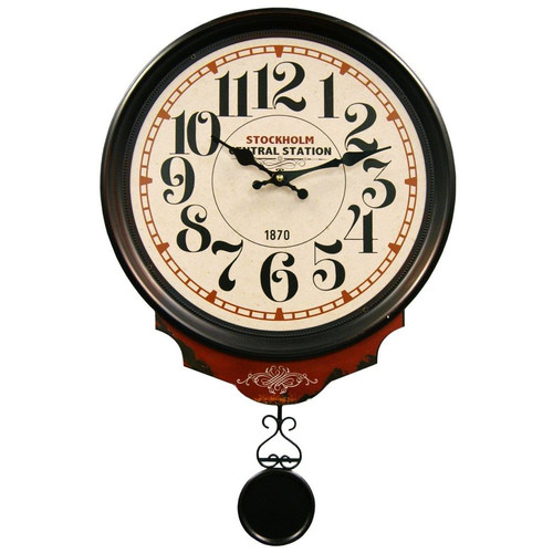 HDC International Central Station Round Wall Clock with Pendulum
