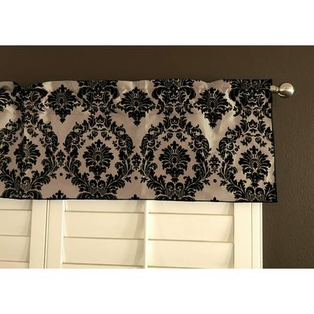 flocking damask taffeta window valance 56 wide black on beige