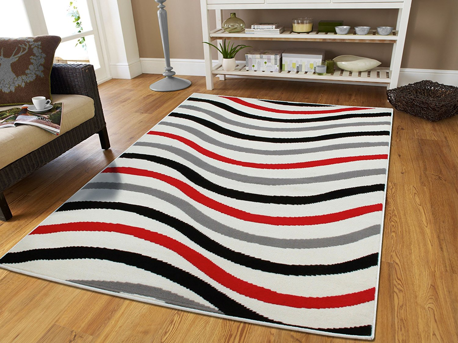 Large 8x11 Red Gray Black WavesLarge Rugs For Bedroom & Living Rooms 8x10  Modern Rugs