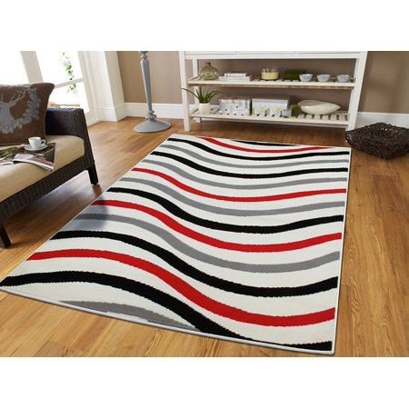 Large 8x11 Red Gray Black Waveslarge Rugs For Bedroom