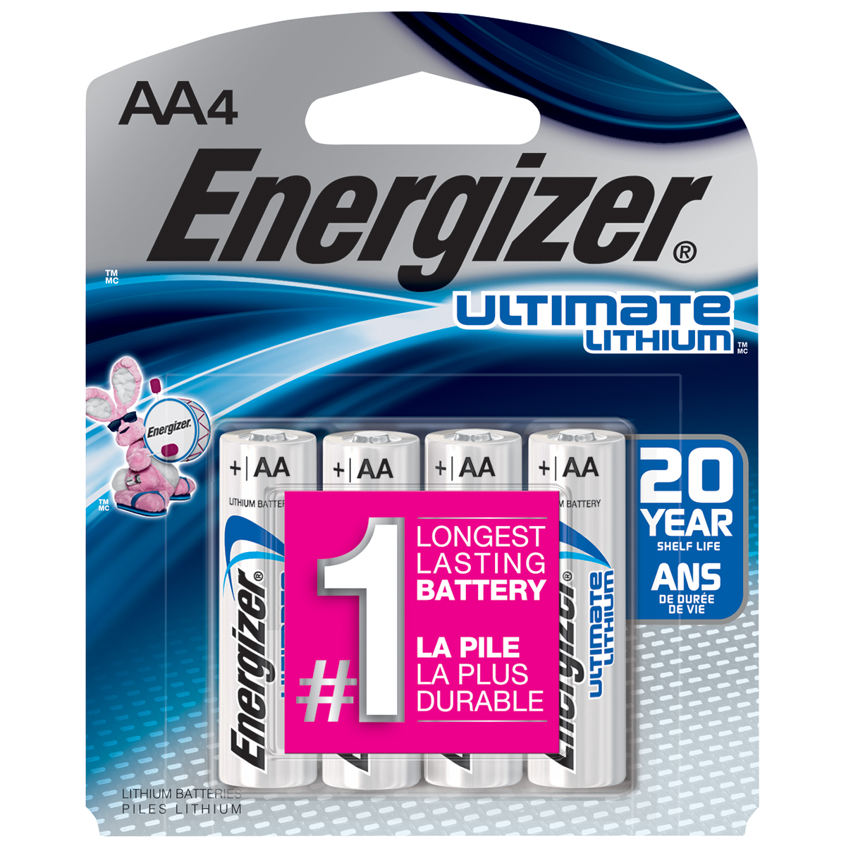Energizer Ultimate Lithium AA Batteries, 4 Pack