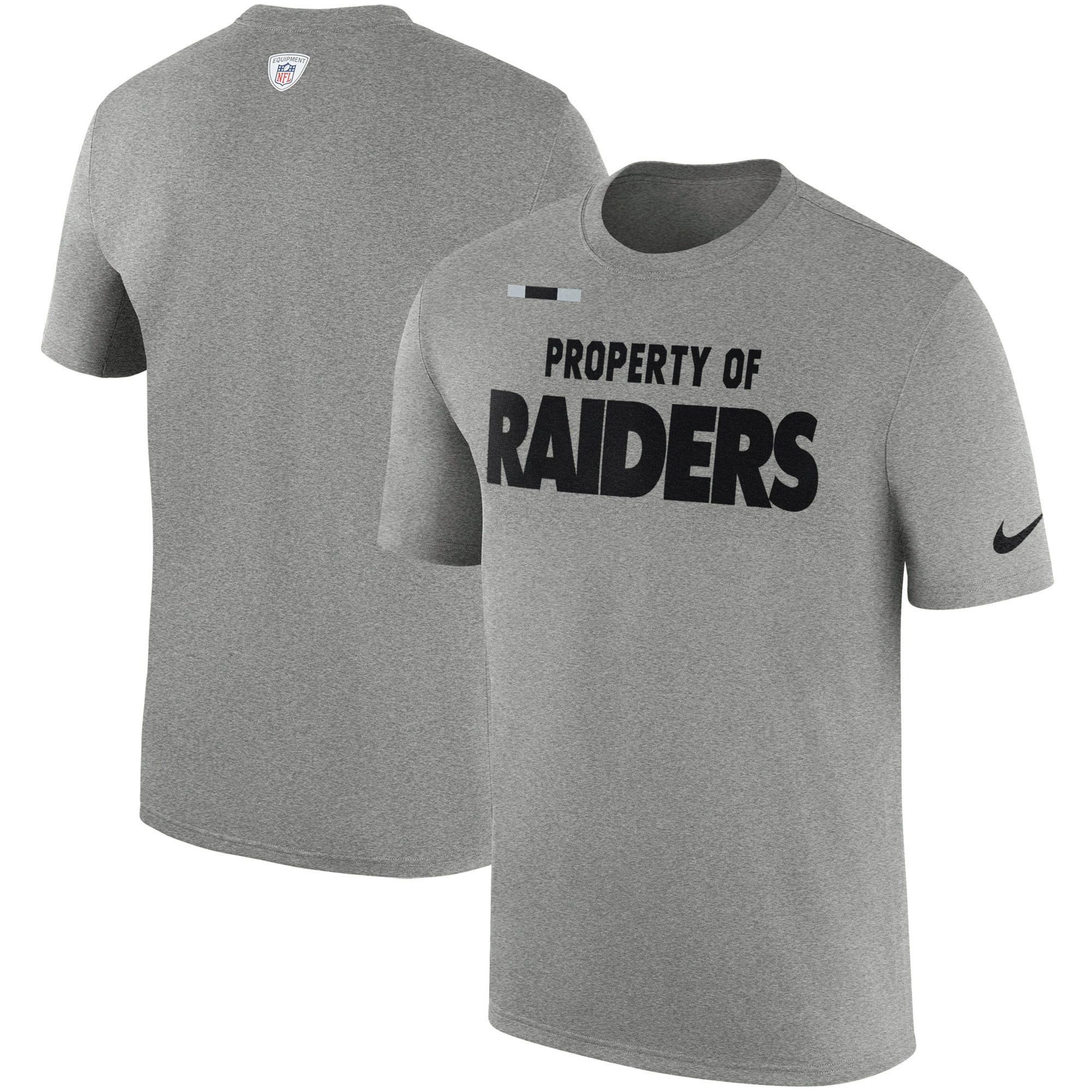 Oakland Raiders Nike Sideline Property Of Facility T-Shirt - Heather Gray
