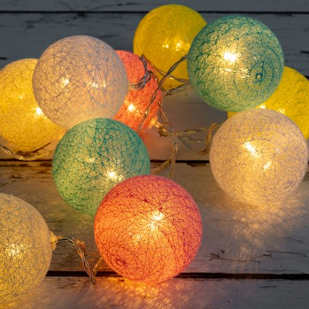 Indoor Globe - West Ivory 5.75 feet 10 LED Colorful Globe Balls String Fairy Light Battery Powered Decorative Indoor Outdoor, Warm White