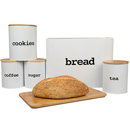 Bread Box and Kitchen Canister Set w Bread Cutting Board- Deluxe 5 Piece Food Storage Container Set with Air Tight Bamboo