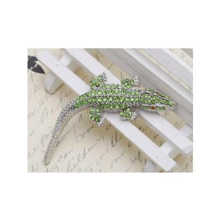 Feinuhan Silvery Tone Light Green Rhinestones Long Tail Alligator Crocodile Brooch (Black Silver Tone Brooch)