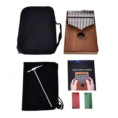 Muspor 17 Key Kalimba Mbira African Mahogany Thumb Piano Finger Musical Instrument with Bag - image 6 de 7