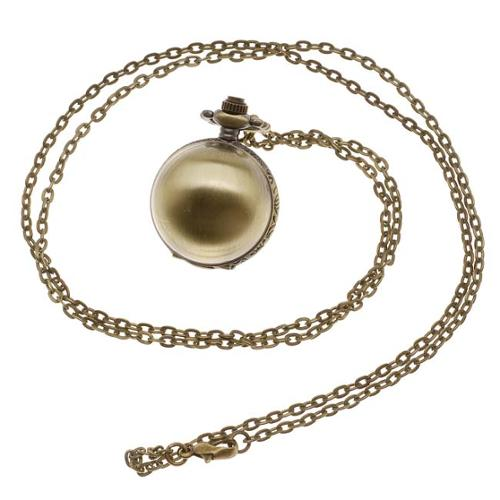 Pocket Watch Pendant - Antiqued Brass Quartz Motion - Round Orb Lid With Chain