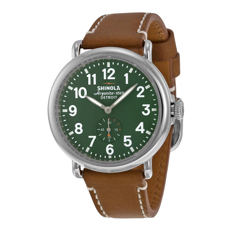 Shinola The Runwell Green Dial Maple Leather Unisex Watch S0100026 by Shinola