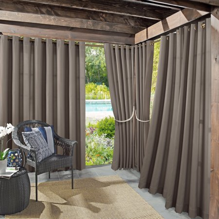 "108""x52"" Rodham Indoor/Outdoor Blackout Energy Efficient UV Resistant Curtain Panel Gray - Sun Zero"