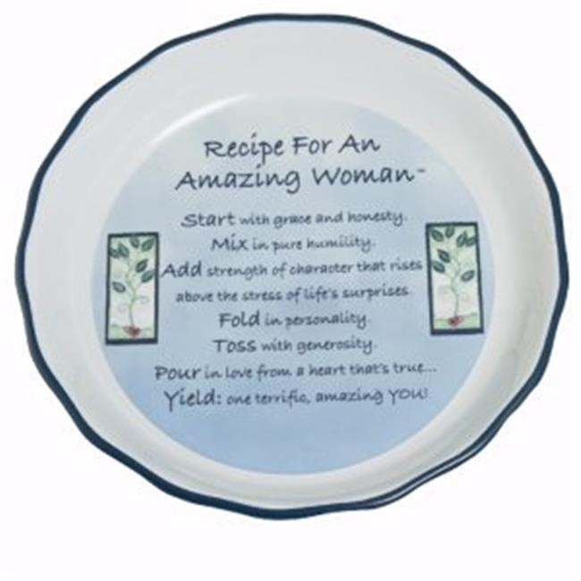 "Pie Plate-Deep Dish-Amazing Woman-Blue (10-1/2"" Diameter)"