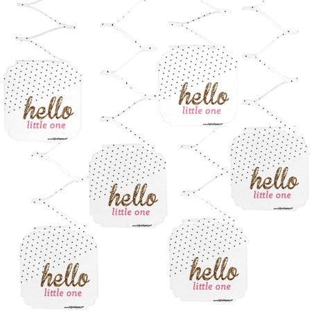 Hello Little One - Pink and Gold - Girl Baby Shower Party Hanging Decorations - 6 Count - Pink Hanging Decorations