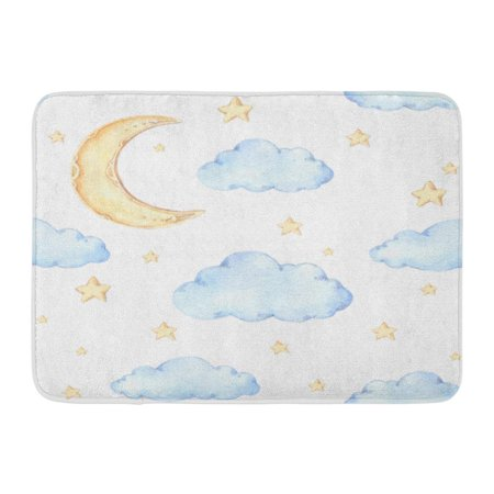KDAGR Watercolour Watercolor Moon and Stars Ideas for Children Room Good Night Baby Party Cloud Doormat Floor Rug Bath Mat 23.6x15.7 inch](Galaxy Room Ideas)