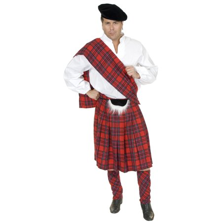 Adult Men's Red Scottish Kilt Highlander Costume