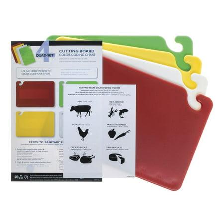 """San Jamar Cut-N-Carry Co-Polymer 4-Board Cutting Board System - 18""""L x 12""""W x 1/2"""""""