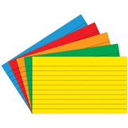 BORDER INDEX CARDS 4 X 6 LINED PRIMARY COLORS 75CT