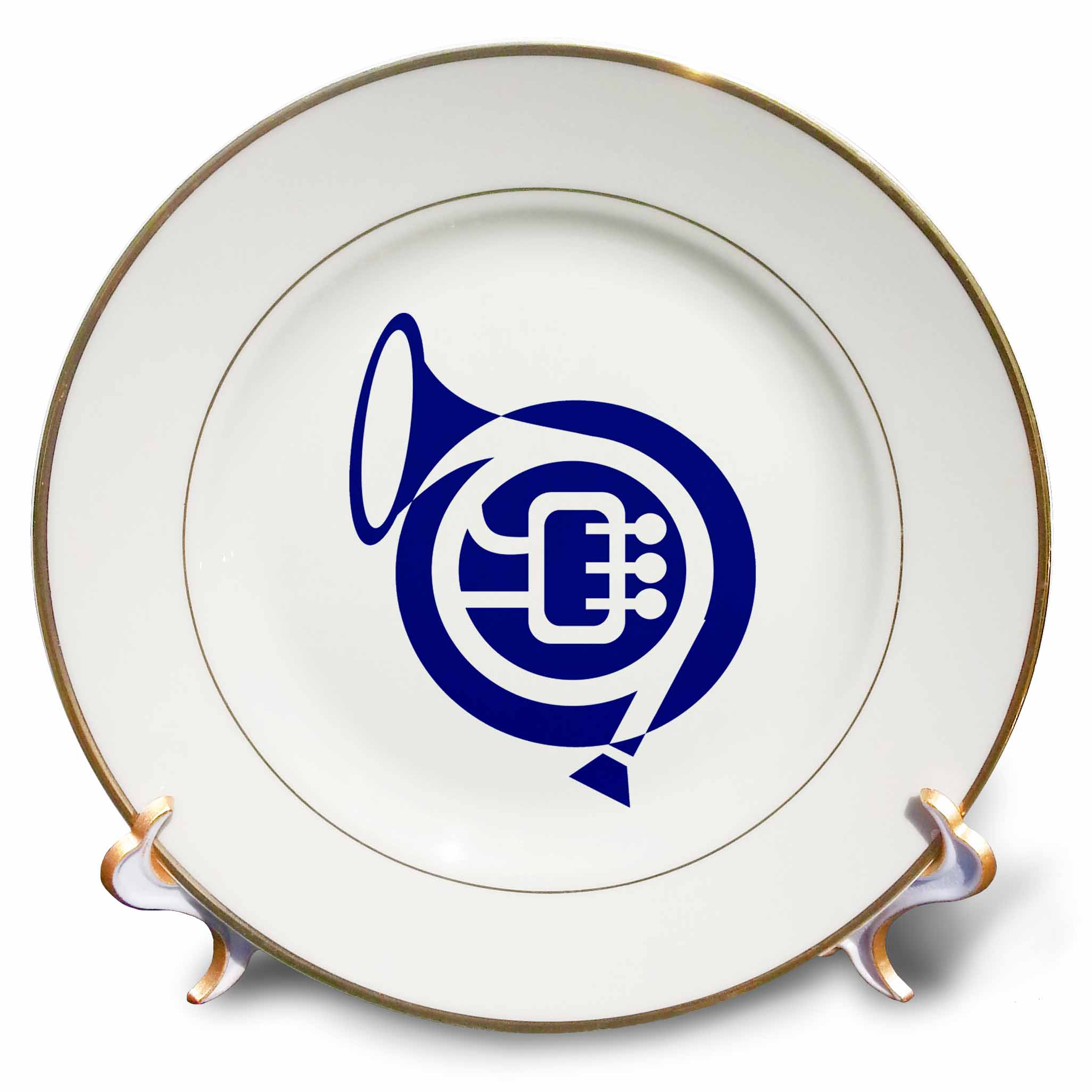 3dRose French horn stylized simple blue, Porcelain Plate, 8-inch