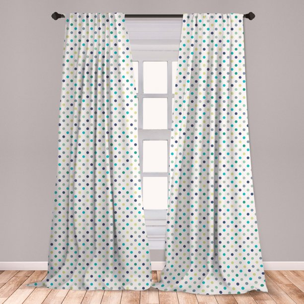 Polkadot Curtains 2 Panels Set, Polka Dots Retro Classy Vintage Style Pattern Design Layout, Window Drapes for Living Room Bedroom, Apple Green Jade Green, by Ambesonne