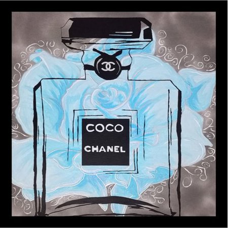 Buy Art For Less Poster Fancy Perfume Floral Blue Flowers Chanel Fleurs Ii Baby Blue Framed Graphic Art Print