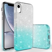 iPhone XR Case, KAESAR Cute Fashinon Slim Luxury Shinning Sparkle Bling Classy Glitter Sparkle Girl Girly Women Protective Cover for iPhone XR (Silver / Teal)