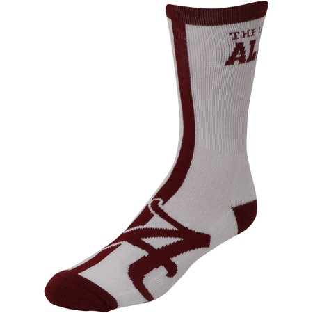- Alabama Crimson Tide White For Bare Feet Big Time Crew Socks - 8-12
