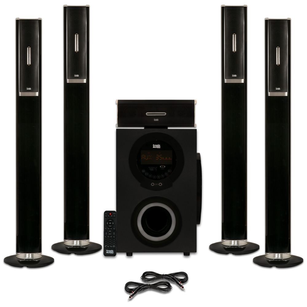 Acoustic Audio AAT3002 Tower 5.1 Home Theater Bluetooth Speaker System and 2 Extension Cables by Acoustic Audio by Goldwood