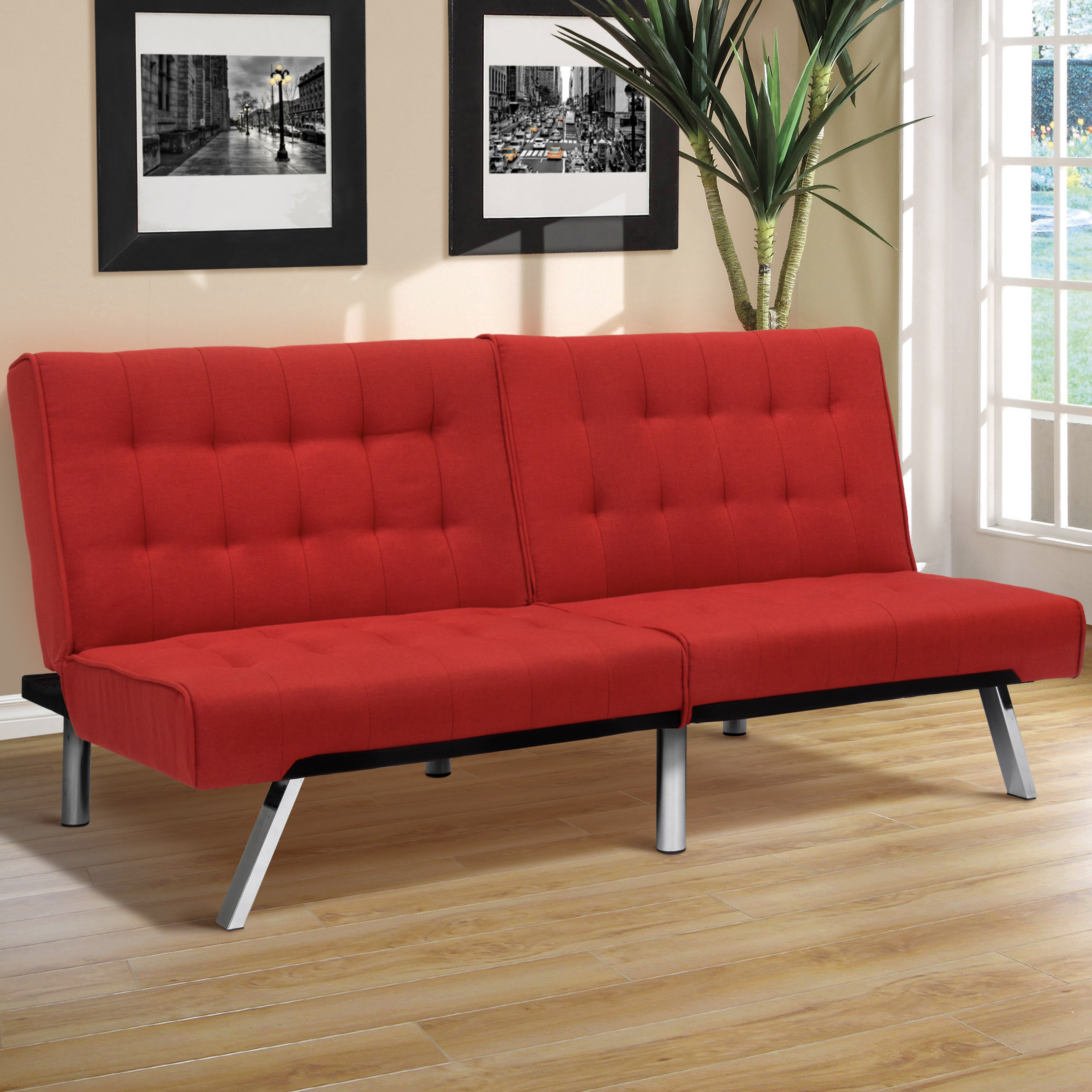 Best Choice Products Modern Linen Reclining Futon Sofa Couch Lounger Sleeper Furniture w  Chrome Legs Red by