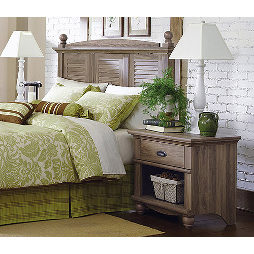Sauder Harbor View Headboard and Nightstand Set, Salt Oak