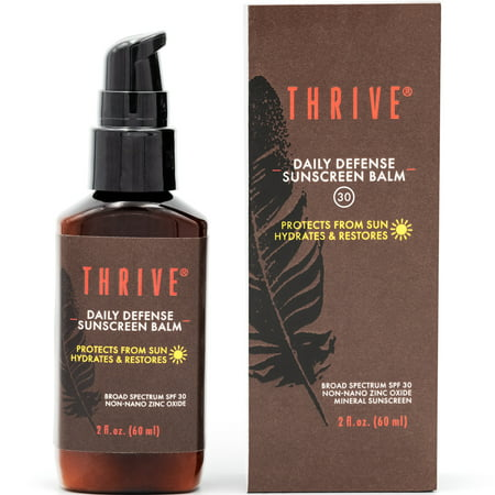 THRIVE Natural Mineral Face Sunscreen SPF 30, 2 Oz – Lightweight Non-greasy Clear Zinc Sunblock & Facial Moisturizer with Antioxidants – Vegan Made in (Best Non Greasy Sunscreen For Face In India)